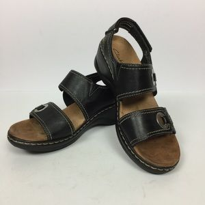 Clark's Bendables Black Sandals Silver Accents 8.5
